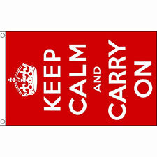 Keep Calm (Red) Flag 5Ft X 3Ft Uk British London Banner With 2 Eyelets New
