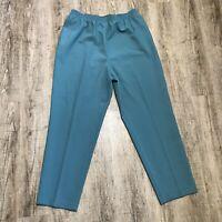 Alia Women's Dress/Career Pants ~ Sz 20W ~ Blue Green ~ Elastic Waist ~ Tapered