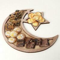 Rustic Plain Wooden Crescent Moon & Star Eid / Ramadan Tray Food Serving O0O9