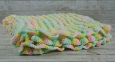"Vintage Handmade Loose Crochet Afghan Cotton Candy Colored 33"" x 29"" Baby Shower"