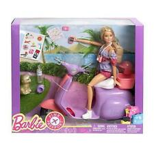BARBIE PINK PASSPORT DOLL AND PURPLE SCOOTER