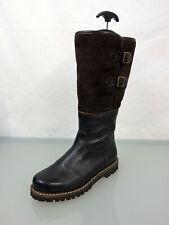 DIRNDL+BUA Leder Stiefel Gr44 Lammfell gefüttert Leather Boots Riegel Braun