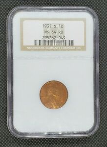 1931-S Lincoln Wheat Cent | NGC MS64RB