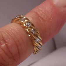 18k YG 1.50 TCW Custom Made Emerald Cut Diamond Twisted eternity band-size 6