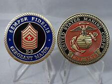 USMC Sergeant Major SGTMAJ E-9 Challenge Coin Marine Corp Military Senior Enlist