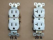 120V DUPLEX RECEPTACLE OUTLET PLUG RESIDENTIAL 15 / COMMERCIAL 20 A AMP WHITE