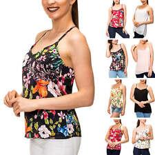 Hachiro Damen Trägertop mit Spitze Print Shirt Blusentop Bluse Ohne Arm SALE %