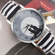 Men Women Lovely Double Cat Quartz Analog Arabic Numbers Date Couple Wrist Watch