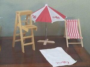 MUFFY VANDERBEAR At The Beach Umbrella, Chair & Lifeguard Tower