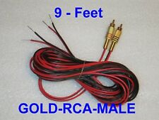 2 Channel Speaker GOLD MALE Wire RCA Adapter Amp Receiver Powered 9 Feet