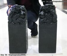 Palace Shou Shan Stone Agalmatolite 2 Dragon Imperial jade Seal Signe Stamp Set