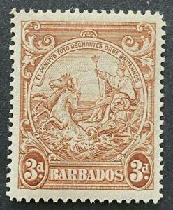 Barbados KGVI SG252ba 3d Brown 'Vertical Line Over Horses Head' MLH Cat £110