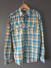 DR DENIM SHIRT (S-FITTED) BLUE/BROWN CHECK COTTON LONG-SLEEVE Excellent lightly