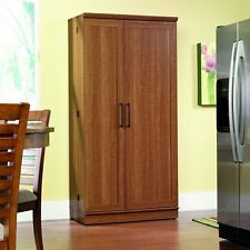 Large Kitchen Cabinet Storage Food Pantry Wooden Shelf Cupboard Light Finish