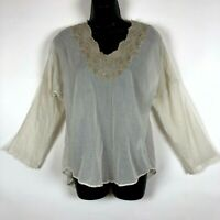 Mes Demoiselles Embroidered top 36 6 tunic shirt blouse off white boho gypsy