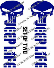 """Jeep Life,Set Of Two-2.5""""x7"""",Punisher,Jeep,Cherokee,Liberty,Wrangler,Vinyl Decal"""