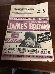 100% Original James Brown Flyer Poster Tucson Sports Arena RARE VINTAGE 1965