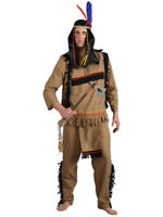 Adult Brave Indian Warrior Wild West Fancy Dress Costume Mens Gents Male BN