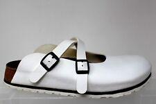 Birkenstock Birki's White Textured Leather 2 Strap Buckle Clogs US L10/41.75