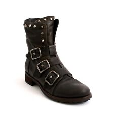 Mally 5068 Brown Leather Side Zip-Up / 3 Buckles Studded Ankle Boots 36 / US 6