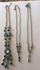 Three Sparkling Necklace Bundle Blue Black Silver Pendant Accessorize  Collar