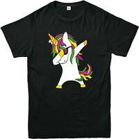 DABBING DANCING UNICORN Printed T Shirts Mens Kids Casual Funny Trendy T 3/4-4XL