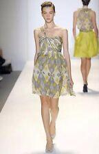 NWT LELA ROSE $1,695 Grey Flowy Floral One Strap *Runway* Dress - 6
