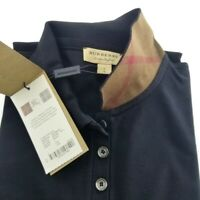 New Burberry Women's Pique Black Check Trim Stretch Polo Shirt XS,S,M,L,XL