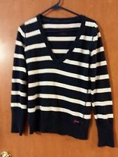 Aeropostale blue & white stripe V neck sweater stretch medium long sleeve