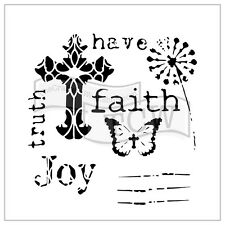 THE CRAFTERS WORKSHOP 6 x 6 Template MINI HAVE FAITH TCW701s Cross Joy Truth