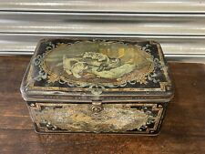 More details for beautiful original large victorian tin box decorated with cats
