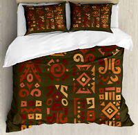 Earth Tones Duvet Cover Set with Pillow Shams African Art Accents Print