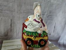 Slavic Treasures Spring Parade Bunny Duck Easter Blown Glass Holiday Ornament