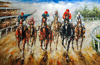 Horse Race Track Thoroughbred County Fair STRETCHED 24X36 Oil Painting On Canvas