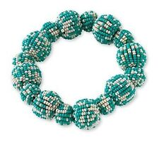 Bracelet Blue White Seed Bead Baubles Stretch Style by Coldwater Creek