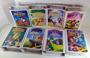 """McDonalds 1996 """"VHS"""" Disney's Masterpiece Collection Happy Meal Toy Set of 8 MIP"""