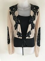 LUXXEL Tan And Black Lacy Crop Top Size M Medium