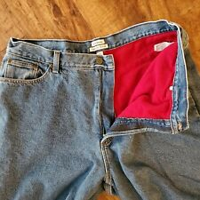 Vtg LL Bean Red Fleece Lined Blue Jeans Original Fit/Relaxed 20 MT  (37x30)