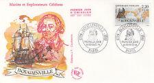 Enveloppe 1er Jour NAVIGATION BATEAU MER PARIS 20/02/1988 BOUGAINVILLE timbrée