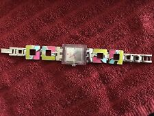 Womens Swatch Watch Rectangle Face Neon Pink Green Turquoise with Box and papers