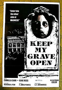 """ENTER .. to the other side of MADNESS  1977 poster 27x41 -- """"KEEP MY GRAVE OPEN"""""""