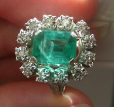 bague ancienne pompadour DIAMANTS émeraude or blanc 18 carats ring diamond 18K