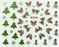 Christmas Nail Art Stickers Decals Silver Snowflakes Bows Trees Snowman E41