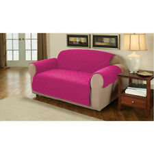 Pink Quilted Cotton 2 Seater Sofa Furniture Protector Cover Slipcover Throw
