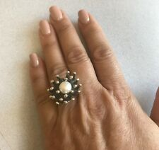 White Pearl Coral Design Mexican 925 Sterling Silver Taxco Mexico Ring Size 6.75