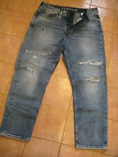 DENHAM The JEANMAKER Cropped Low Crotch oversized distressed Jeans Size 32 $298