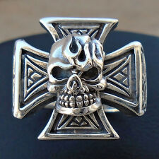 925 Sterling Silver Maltese Cross Skull Ring Size 11 Gothic Hallmark Sol N S New