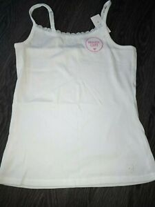 Girls justice lace trim braless cami tank size 14 new white