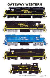 "Gateway Western Locomotives 11""x17"" Poster Andy Fletcher signed"