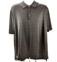 Adidas Golf Mens XL Polo Shirt Black Stripe Performance Polyester SS Textured